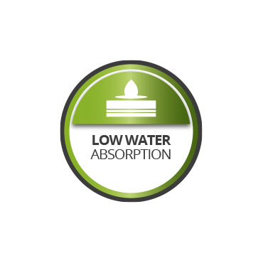 Low water absorption