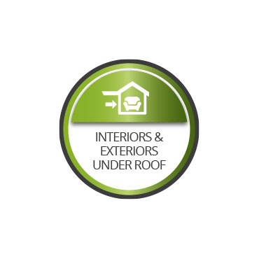 Interior and exteriors under roof